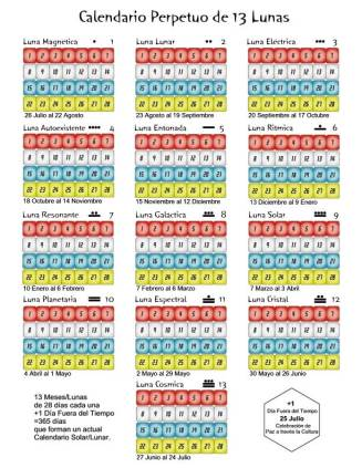 calendario 13 lunas 28 dias perpetuo version pared b