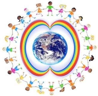 niños rodean planeta arcoiris circumpolar