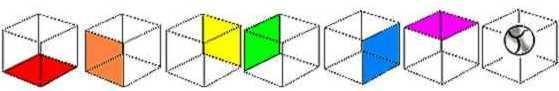 Cubo Arco Iris codones ADN Poder del 7 en el centro, Heptagono de la mente. Esquema de meditacion