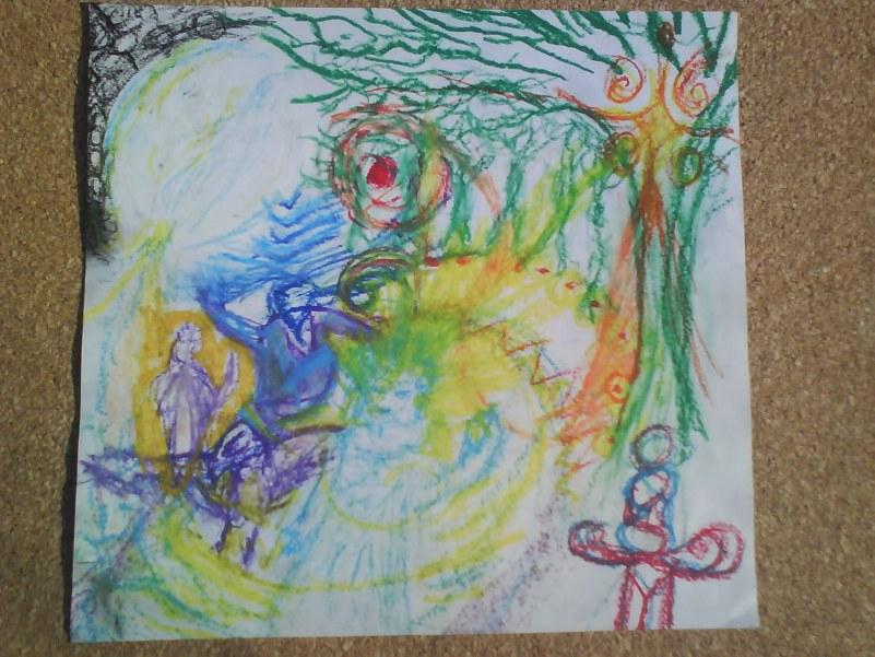 La dama del lago, Merlin y Arturo viendo La espada de la sabiduria en la cima de la libre voluntad