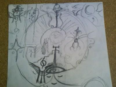 Boceto Espiral hacia el centro de energia mistica