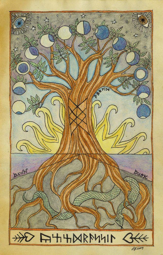 carta celta Yggdrasil árbol del mundo